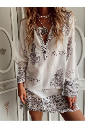 KAFTAN HAWAII BLANCO NEGRO